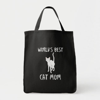 World's Best Cat Mom Cute Animal Typography Art Tote Bag