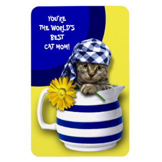 World's Best Cat Mom. Mother's Day Gift Magnets