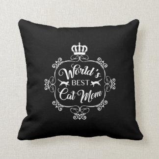 World's Best Cat Mom - White Print Pillow