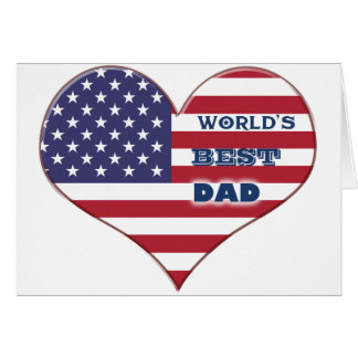 World's Best Dad American Flag Heart Card