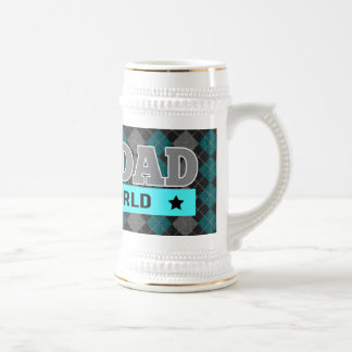World's Best Dad Argyle Patterned Father's Day 18 Oz Beer Stein