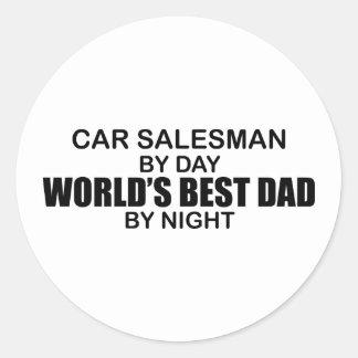 World's Best Dad by Night - Car Salesman Round Sticker