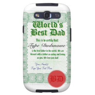 World's Best Dad Certificate Samsung Galaxy SIII Cases