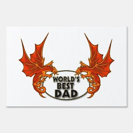 Worlds Best Dad Dragon In Gold Trim