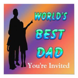 """World's Best Dad Invitation 5.25"""" Square Invitation Card"""