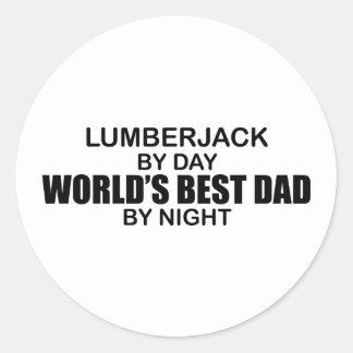 World's Best Dad - Lumberjack Round Sticker