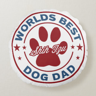 Worlds Best Dad Shih Tzu Paw Print Round Pillow