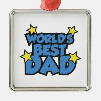 World's Best Dad Silver-Colored Square Ornament