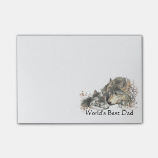 World's Best Dad Watercolor Wolf & Cub Nature Art Post-it Notes