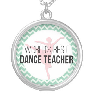 World's Best Dance Teacher - Mint Chevron Silver Plated Necklace
