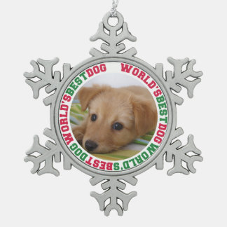 World's best dog custom photo christmas pet snowflake pewter christmas ornament