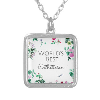 World's Best Esthetician gift 4 Silver Plated Necklace