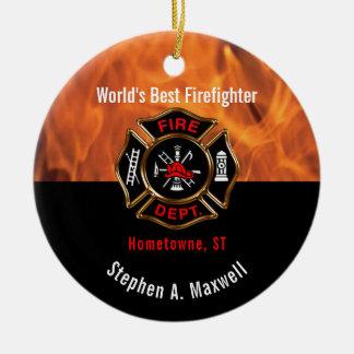 World's Best Firefighter Flames Class | Photo Ceramic Ornament