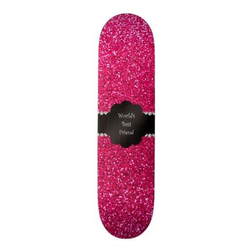 World's best friend pink glitter skate board