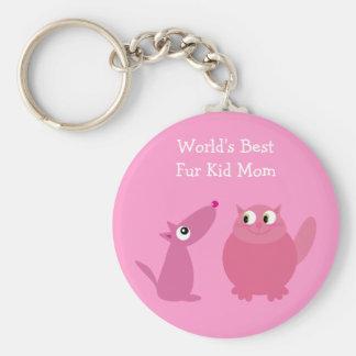World's Best Fur Kid Mom Basic Round Button Keychain
