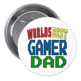 Worlds Best Gamer Dad Badge 3 Inch Round Button