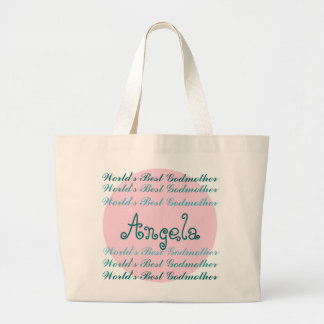 World's Best GODMOTHER Custom Name Aqua Teal Pink Large Tote Bag