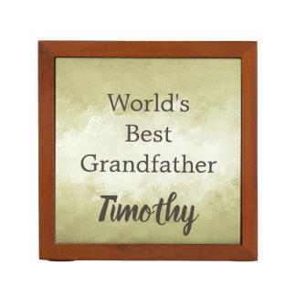 Worlds Best Grandfather Brown and White Desk Organizer