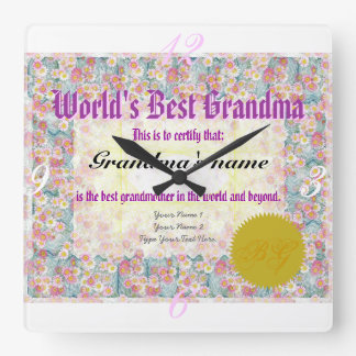 World's Best Grandma Award Certificate Clock