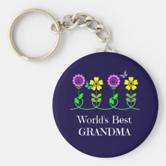 World's Best Grandma, pretty floral design Keychain