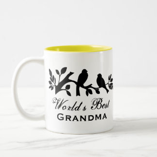 World's Best Grandma sparrows silhouette love bird Two-Tone Coffee Mug