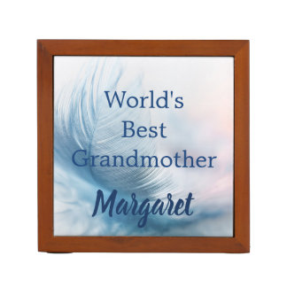 Worlds Best Grandmother Beautiful Feather Desk Organizer