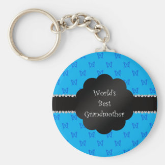 World's best grandmother blue butterflies keychain