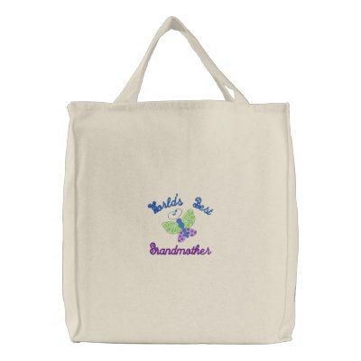World's Best Grandmother Embroidered Tote Bag