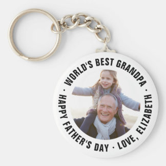 World's Best Grandpa Father's Day Photo Gift Keychain
