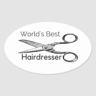 World's best hairdresser oval sticker