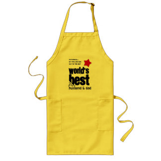 Worlds Best Husband and DAD with RED BLACK Text 3 Long Apron
