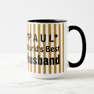 World's Best HUSBAND Gold White Stripes C07 Mug