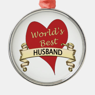 World's Best Husband Silver-Colored Round Ornament