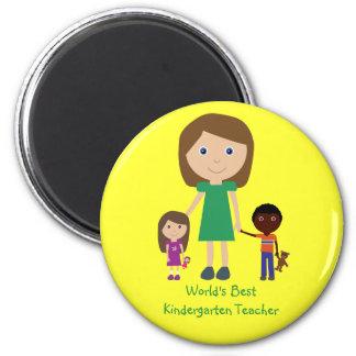 World's Best Kindergarten Teacher Cute Cartoon Magnet
