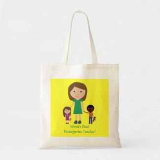 World's Best Kindergarten Teacher Cute Cartoon Tote Bag