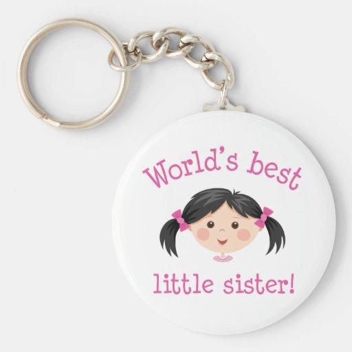 Worlds best little sister - asian girl key chains