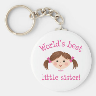 Worlds best little sister - brown hair key chains