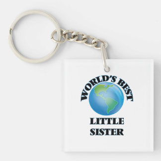 World's Best Little Sister Square Acrylic Keychain