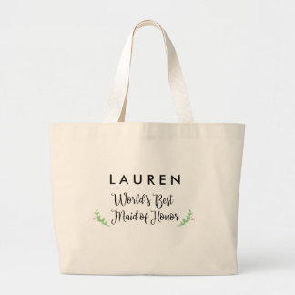 World's Best Maid of Honor Personalized Large Tote Bag