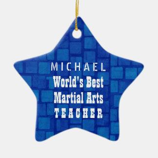 World's Best Martial Arts Teacher Blue Bricks A13 Ceramic Ornament