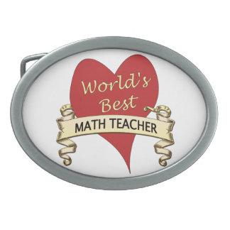 World's Best Math Teacher Oval Belt Buckle