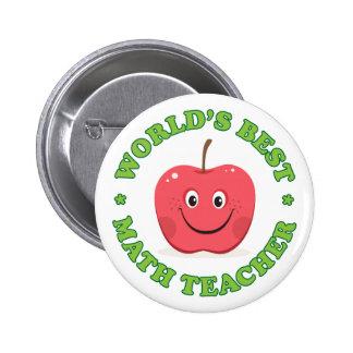 Worlds best math teacher pinback button, red apple 2 inch round button