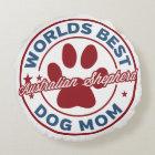 Worlds Best Mom Australian Shepherd Paw Print Round Pillow