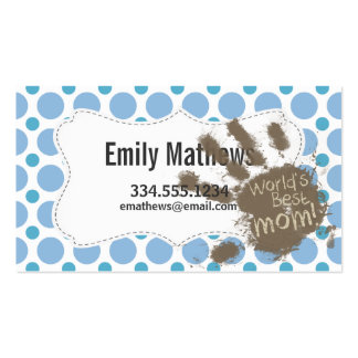 World's Best Mom; Baby Blue Polka Dots Business Card