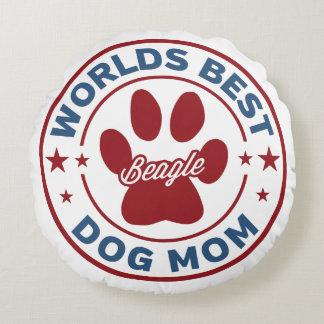 Worlds Best Mom Beagle Paw Print Round Pillow