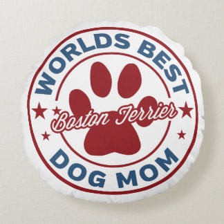 Worlds Best Mom Boston Terrier Paw Print Round Pillow