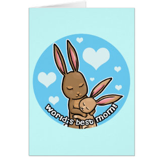 Worlds best Mom Bunny Note Card