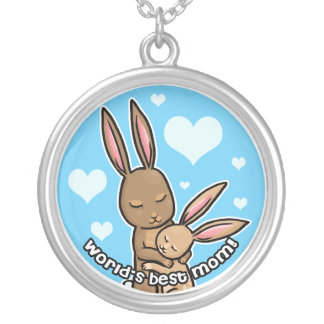Worlds best Mom Bunny Silver Plated Necklace
