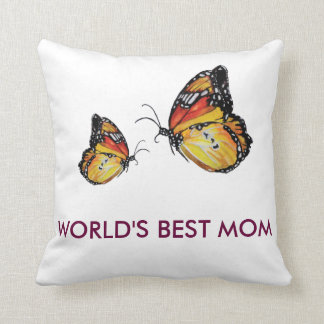 World's Best Mom Butterflies Pillow