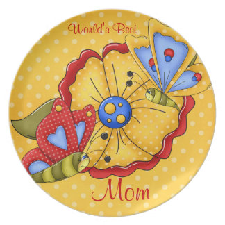 World's Best Mom Butterfly Dinner Plate